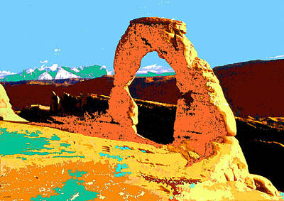 Delicate Arch - Blue Green Red Yellow Poster by Art America Online Gallery