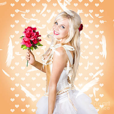 Delicate Young Woman Holding Flower Bunch Poster by Jorgo Photography - Wall Art Gallery