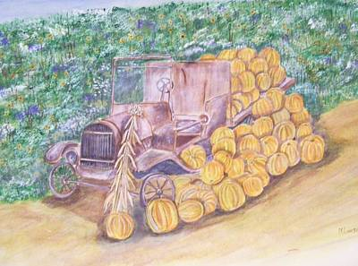 Poster featuring the painting Delivering The Pumpkins by Belinda Lawson