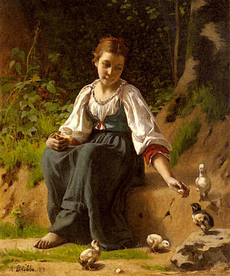 Delobbe Francois Alfred A Young Girl Feeding Baby Chicks Poster