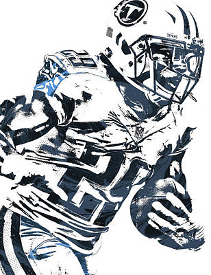 Poster featuring the mixed media Demarco Murray Tennessee Titans Pixel Art 2 by Joe Hamilton