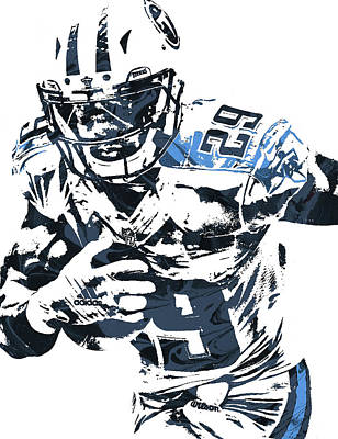 Poster featuring the mixed media Demarco Murray Tennessee Titans Pixel Art by Joe Hamilton