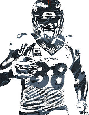 Demaryius Thomas Denver Broncos Pixel Art Poster by Joe Hamilton