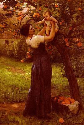 Demont Breton Virginie Mere Et Enfant Dans Le Jardin Poster