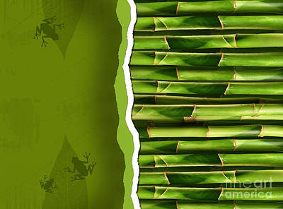 Dense Bamboo Stalk With Copyspace Poster