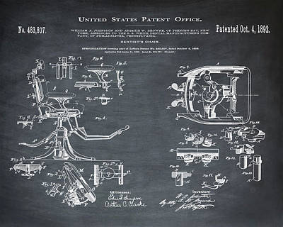 Dentists Chair Patent 1892 In Chalk Poster