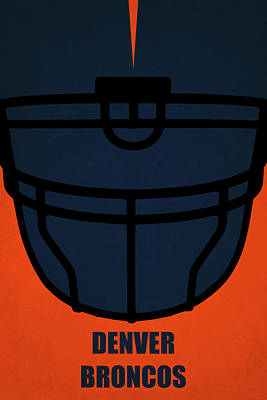 Denver Broncos Helmet Art Poster by Joe Hamilton