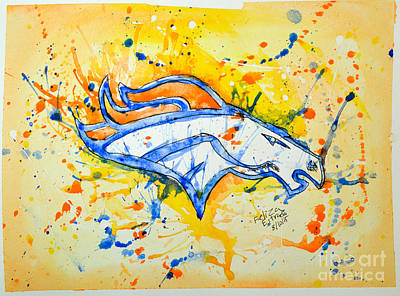 Denver Broncos Illustration Poster by Feliza Estrada