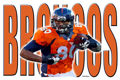Poster featuring the digital art Denver Broncos by Stephen Younts
