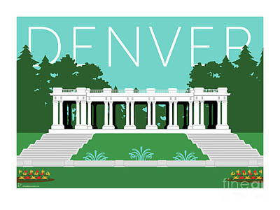 Denver Cheesman Park/lt Blue Poster