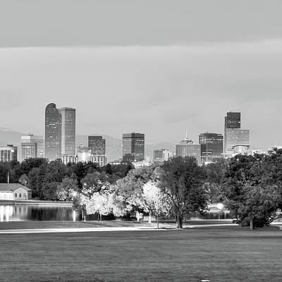 Denver City Skyline In Black And White Poster