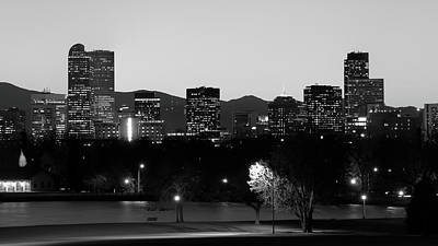 Poster featuring the photograph Denver Colorado Mountain Skyline Black And White by Gregory Ballos