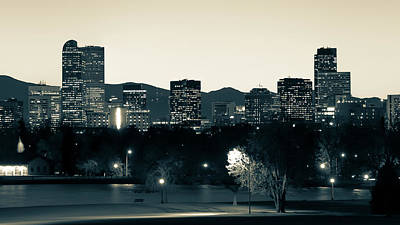 Poster featuring the photograph Denver Colorado Mountain Skyline In Sepia by Gregory Ballos