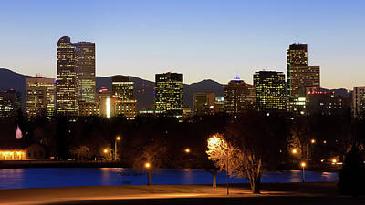 Poster featuring the photograph Denver Colorado Skyline Blues by Gregory Ballos