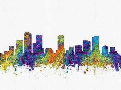 Denver Colorado Skyline Color03 Poster by Aged Pixel