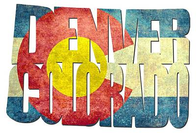 Denver Colorado Typography - State Flag Poster by Gregory Ballos