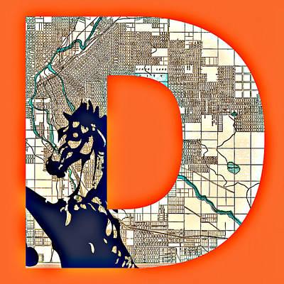 Denver Colorado With Map V3 Poster
