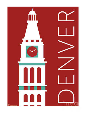 Denver D And F Tower/maroon Poster by Sam Brennan