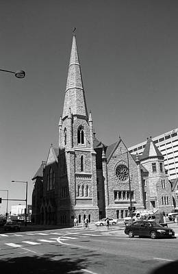 Denver Downtown Church Bw Poster by Frank Romeo