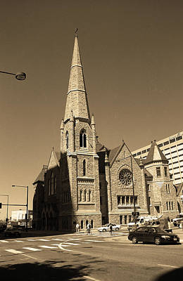 Poster featuring the photograph Denver Downtown Church Sepia by Frank Romeo