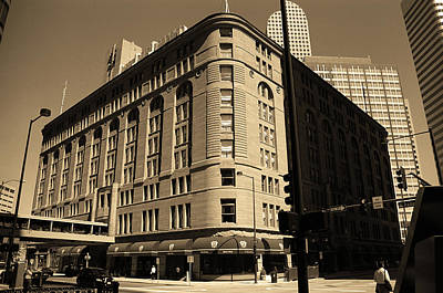 Poster featuring the photograph Denver Downtown Sepia by Frank Romeo