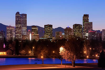 Denver Downtown Skyline - Mile High City Poster by Gregory Ballos