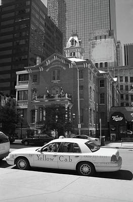 Denver Downtown With Yellow Cab Bw Poster by Frank Romeo