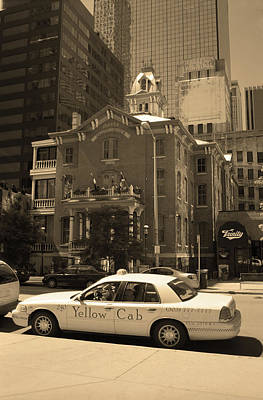 Poster featuring the photograph Denver Downtown With Yellow Cab Sepia by Frank Romeo