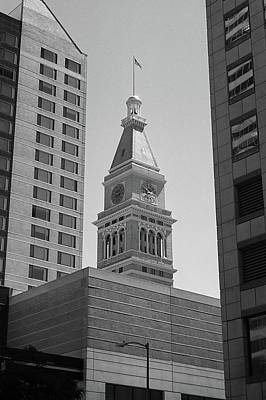 Denver - Historic D And F Clocktower 2 Bw Poster by Frank Romeo