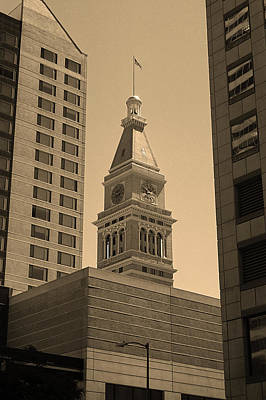 Poster featuring the photograph Denver - Historic D F Clocktower 2 Sepia by Frank Romeo