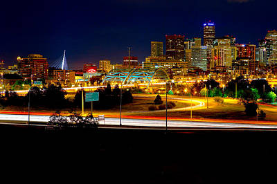 Denver Night Skyline Poster