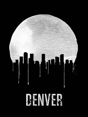 Denver Skyline Black Poster by Naxart Studio