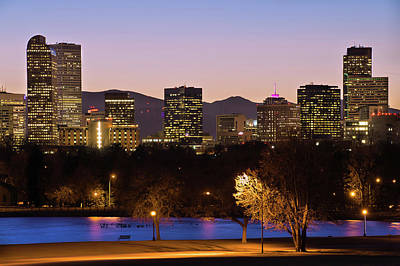 Poster featuring the photograph Denver Skyline - City Park View by Gregory Ballos