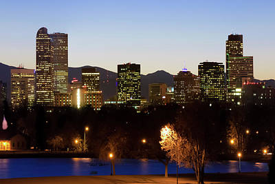 Poster featuring the photograph Denver Skyline - Colorful Colorado by Gregory Ballos