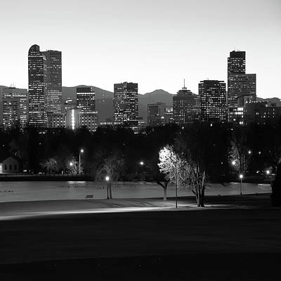Poster featuring the photograph Denver Skyline Square Format - Black And White by Gregory Ballos