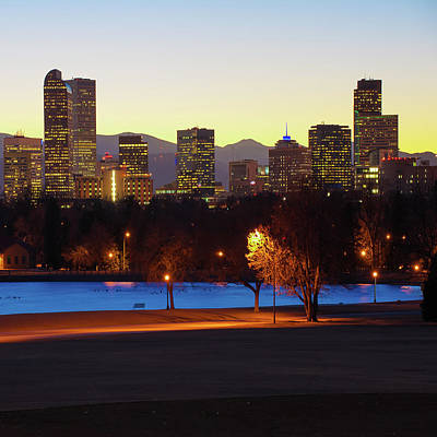 Poster featuring the photograph Denver Skyline Square Format - Colorful by Gregory Ballos