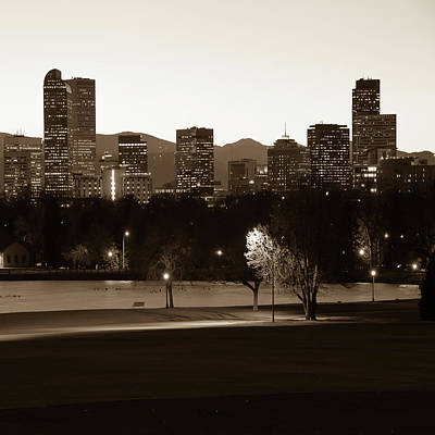 Poster featuring the photograph Denver Skyline Square Format - Sepia by Gregory Ballos