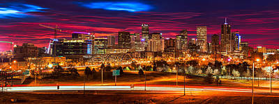 Denver Skyline Sunrise Poster by Darren White