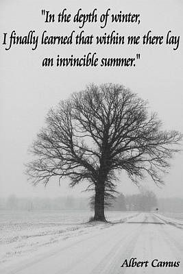 Depth Of Winter Quote Poster by Dan Sproul