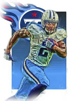 Derrick Henry Tennessee Titans Jersey Number 2 Oil Art Poster by Joe Hamilton