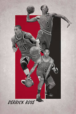 Derrick Rose Chicago Bulls Poster by Joe Hamilton