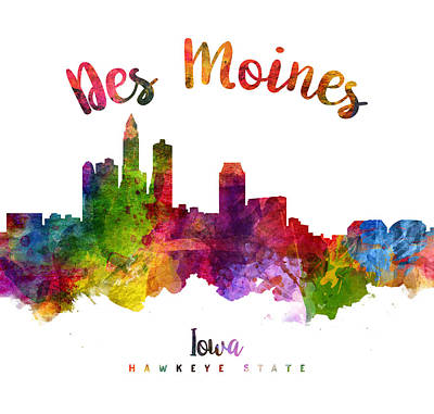 Des Moines Iowa 23 Poster by Aged Pixel