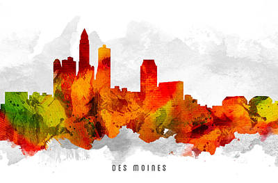 Des Moines Iowa Cityscape 15 Poster by Aged Pixel