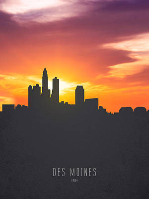 Des Moines Iowa Sunset Skyline 01 Poster by Aged Pixel