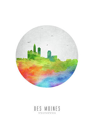 Des Moines Skyline Usiadm20 Poster by Aged Pixel
