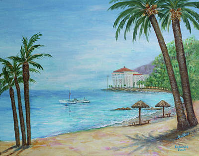 Poster featuring the painting Descanso Beach, Catalina by Lynn Buettner