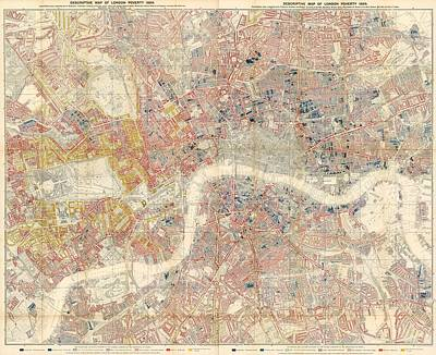 Descriptive Map Of London Poverty - Data Visualization Map - Map Of London - Historic Map Poster