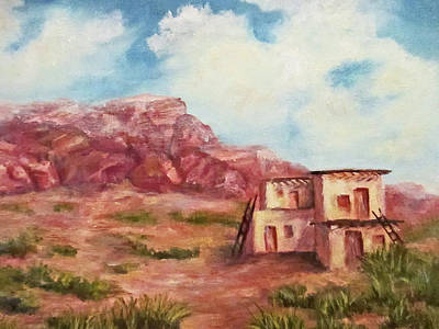 Poster featuring the painting Desert Pueblo by Roseann Gilmore