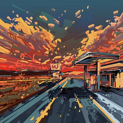 Desert Road Landscape 2 Poster by Bekim Art