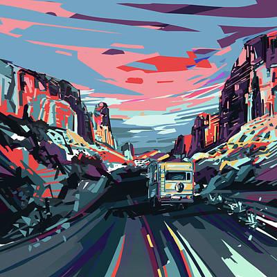Desert Road Landscape Poster by Bekim Art